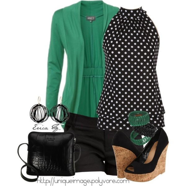Sleeveless Polka Dot Top: Polka Dots Tops, Colors Combos, Sleeveless Polka, Dresses Pants, Green Cardigans, Black Shoes, Summer Outfits, Kelly Green, Black Pants