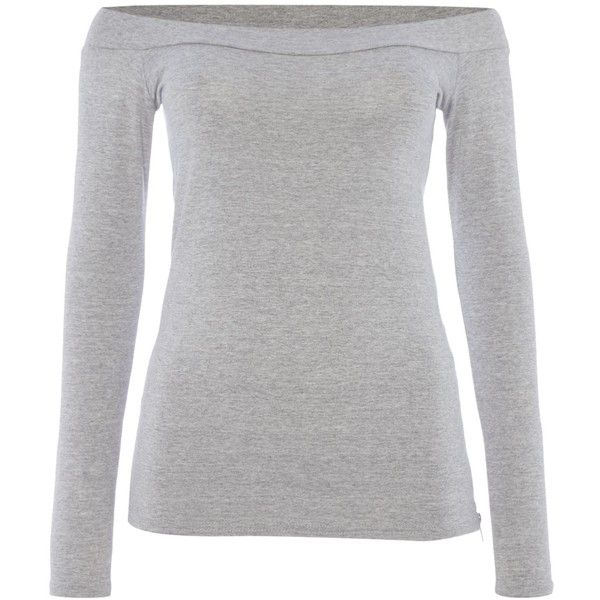 Pied a Terre Grey Marl Jersey Bardot Top ($44) ❤ liked on Polyvore featuring tops, grey marl, women, grey long sleeve top, pied a terre, gray top, viscose tops and grey top