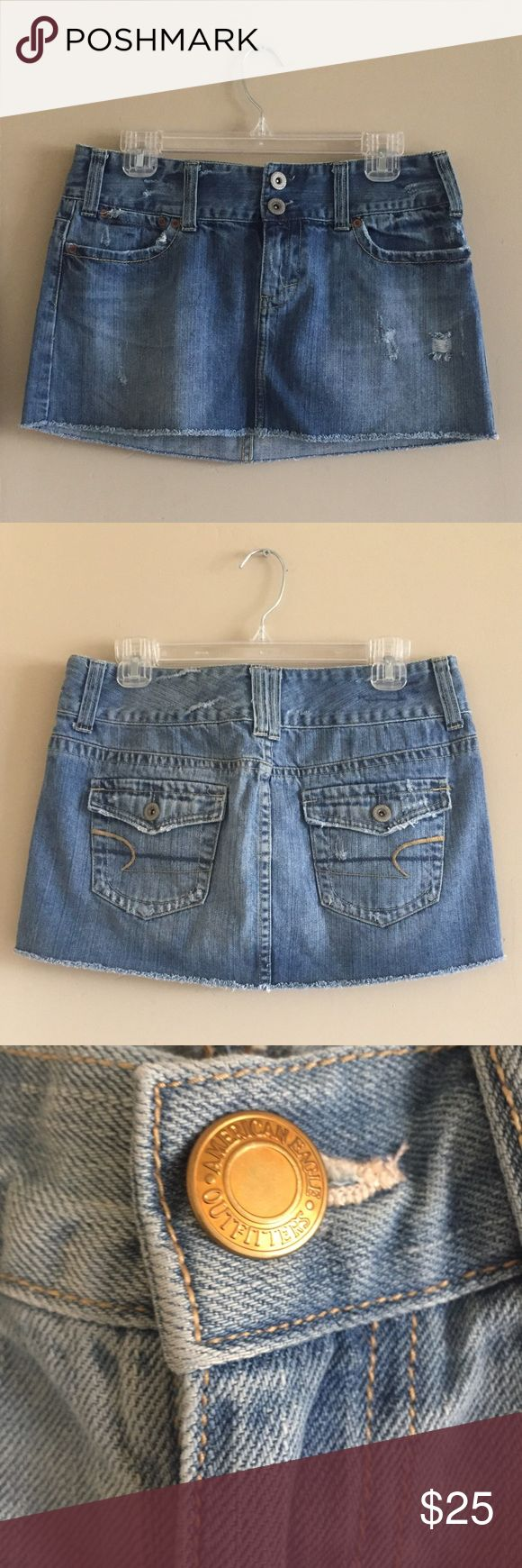 American Eagle Outfitters Denim Mini Skirt Size 10 Very gently worn, perfect condition!  Size 10  5 pocket styling  Belt loops  Two button fly and zip closure  Perfect for spring break, festival season, Coachella or Stagecoach! American Eagle Outfitters Skirts Mini