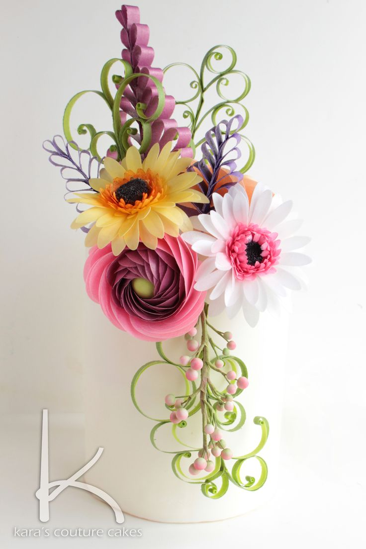 A Gorgeous display of wafer paper flowers by Kara Andretta of Kara's Couture Cakes.