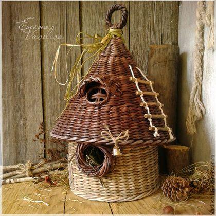 домик-скворечник корзина газетные трубочки плетение газета своими руками хобби