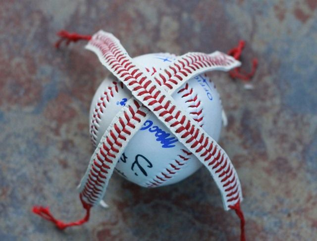 Baseball bracelet (make sure to soak in water for an hour or so after cutting the lace off the ball. when you remove it, stretch the lace so it become straight & let it dry like that.)