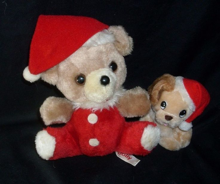 VINTAGE RUSS BERRIE CHRISTMAS JOLLY TEDDY BEAR & DOG STUFFED ANIMAL PLUSH TOY #Russ