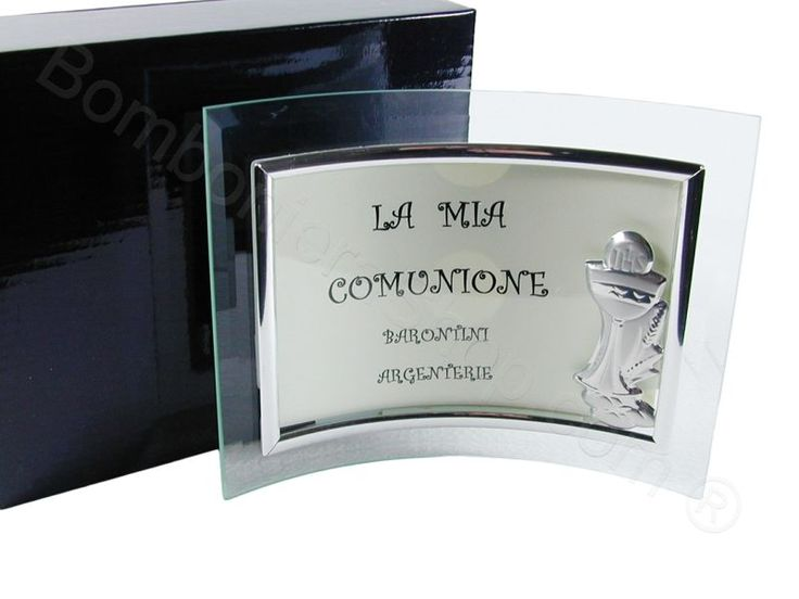 Portafoto in vetro curvo con applicazione calice prima comunione in laminato argento