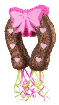 "Amazon.com : Pink Cowgirl 19"" Pull-String Horseshoe Pinata Party Supplies : Childrens Pinatas : Toys & Games"