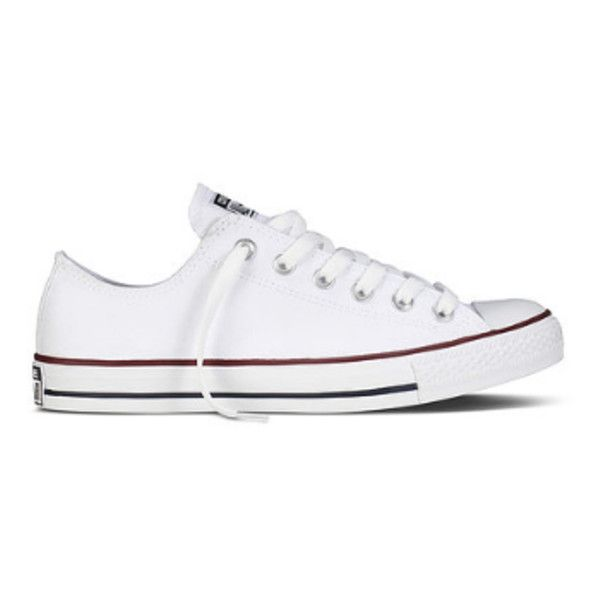 Women's White Chuck Taylor All Star Ox Core Sneakers (€51) ❤ liked on Polyvore featuring shoes, sneakers, low cut sneakers, plimsoll shoes, low cut shoes, star sneakers and lacy shoes