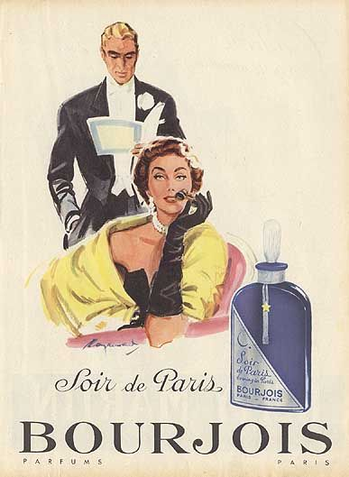 """""""Soir de Paris"""" in the better stores...""""Evening in Paris"""" in the dimestore...clever marketing tool for a scent that smelled like...well, smelled..."""