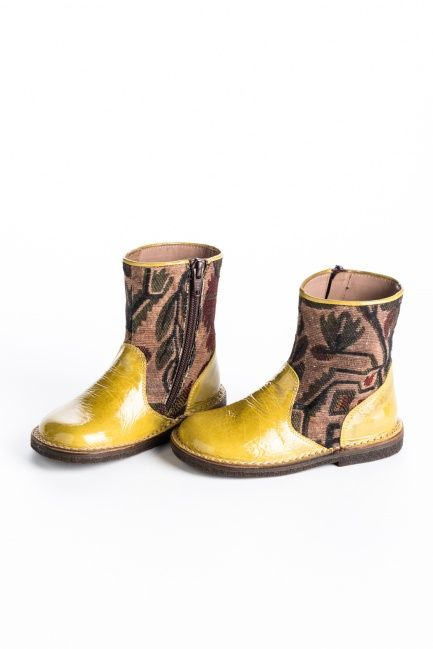 Gleaming yellow leather and a gorgeous maisole fabric combine to create the most unique and pretty boots you'll find anywhere! Durable rubber sole.