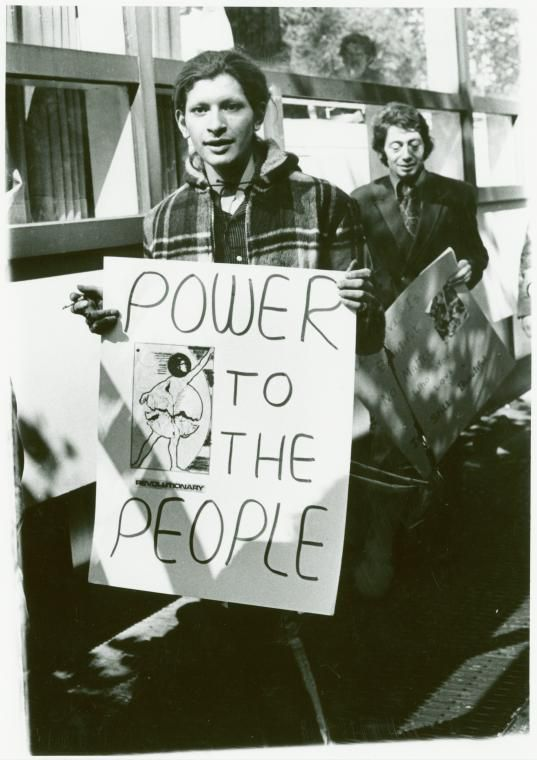 Sylvia Ray Rivera (front) and Arthur Bell at gay liberation demonstration, New York University, 1970. Ph: Diana Davies