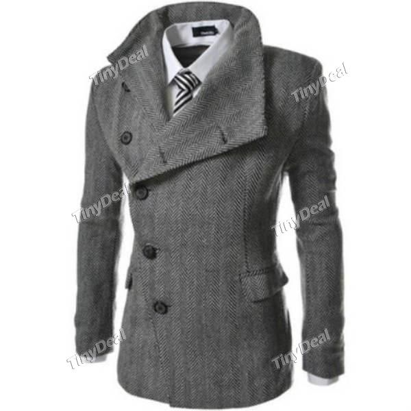 Winter Casual Purity Retro Style Inclined Buckle Fine Grid Collar Suit Coats for Boy Men DCD-369679