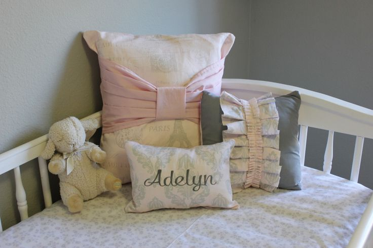 Girly, ruffly pillows - great accent for a #babygirl #nursery