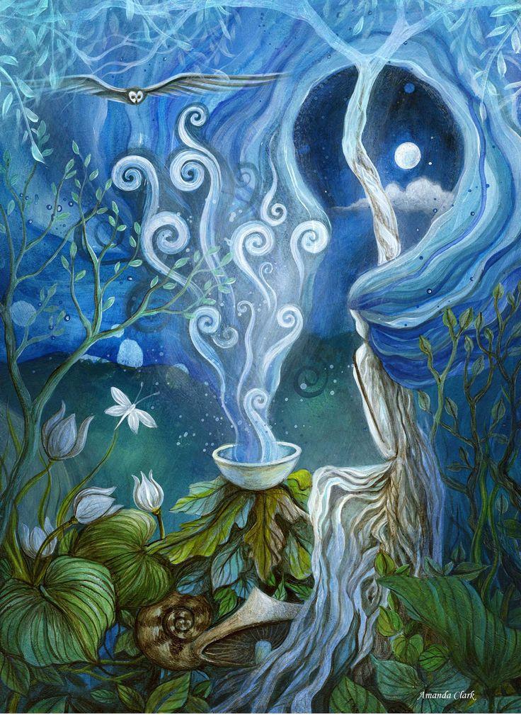 A fairytale art print . 'Shaman Light'. by Amanda Clark.. $28.00, via Etsy.