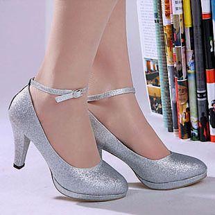 Silver Bridal Pumps Sparkling Glitter Cloth Fringe Spool Heel Round Closed Toe Wedding Shoes