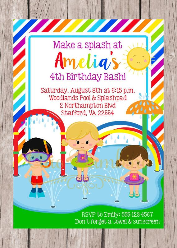 PRINTABLE Splashpad Invitation / Splash Park Party by ciaobambino