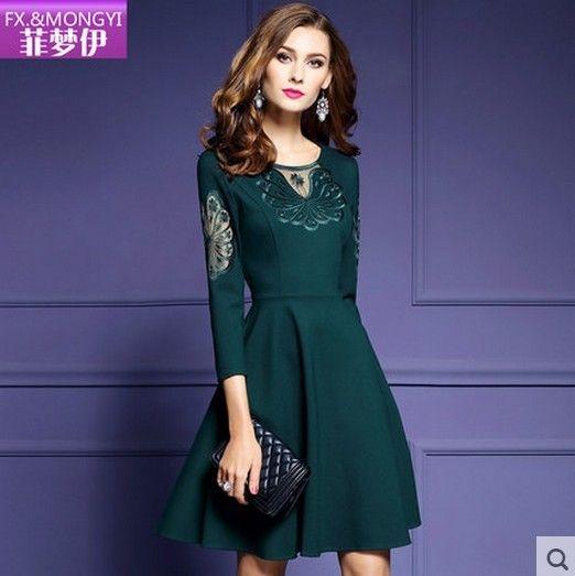 2016 новая зима OL темперамент рукава вышитые платья была тонка слово юбка женская мода 9542