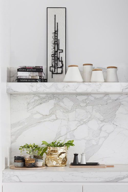Dream kitchen ~ Beautiful grey  white marble - gold bag