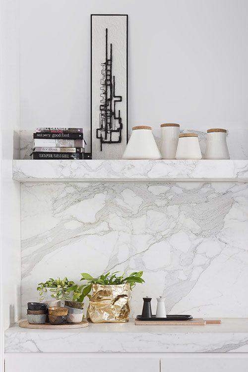 Dream kitchen ~ Beautiful grey  white marble - gold bag