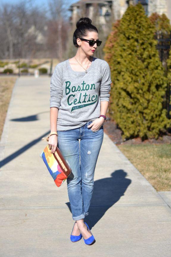 Simply Bold wearing Junk Food's Boston Celtics Vintage Marled Fleece