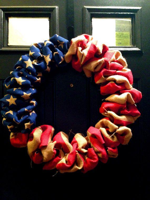 18 inch Burlap American Flag Wreath on Etsy, $42.00