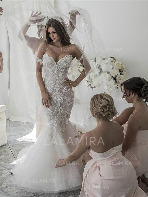 Chic Organza Wedding Dresses With Trumpet/Mermaid Off-The-Shoulder (002210827)
