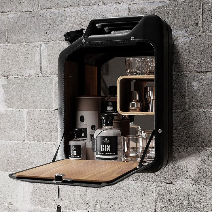 "Upcycled World War II Icon Nano Black Bar Cabinet ""A Jerry Can""  by Danish Fuel World War icon designs."