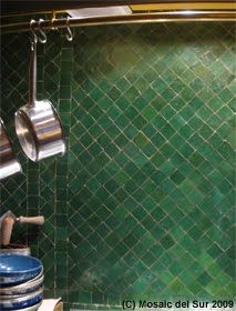 Morrocan Zelige tiles.The Moroccan Zelige tiles are handmade by Arabic craftsmen and are glazed with enamel
