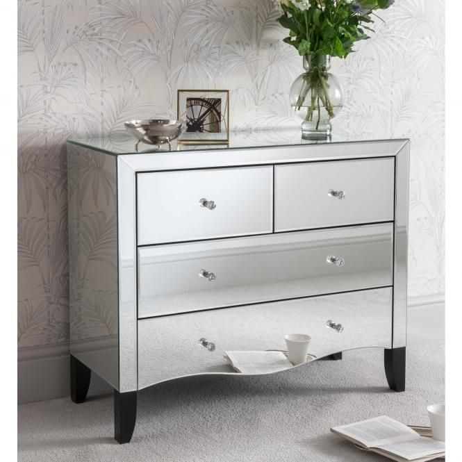 Valentina Mirrored Chest Of Drawers Bedroom Chest Of Drawers