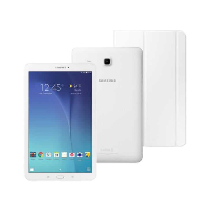 Samsung Pack Galaxy Tab E 9 6 Wxga 1 5go Ram Android 4 4 Quad Core Stockage 8go Blanc Book Tablette Tactile Clavier Pc Tablette Tactile Samsung