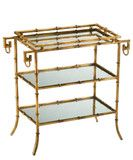 High Street Market- Gold Faux Bamboo Mirrored Side Table