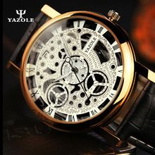 YAZOLE NEW Mens Watches Gold Skeleton Men Quartz Watch Luminous Wristwatches Male Clock Wrist Watch Quartz-watch erkek kol saati(China (Mainland))
