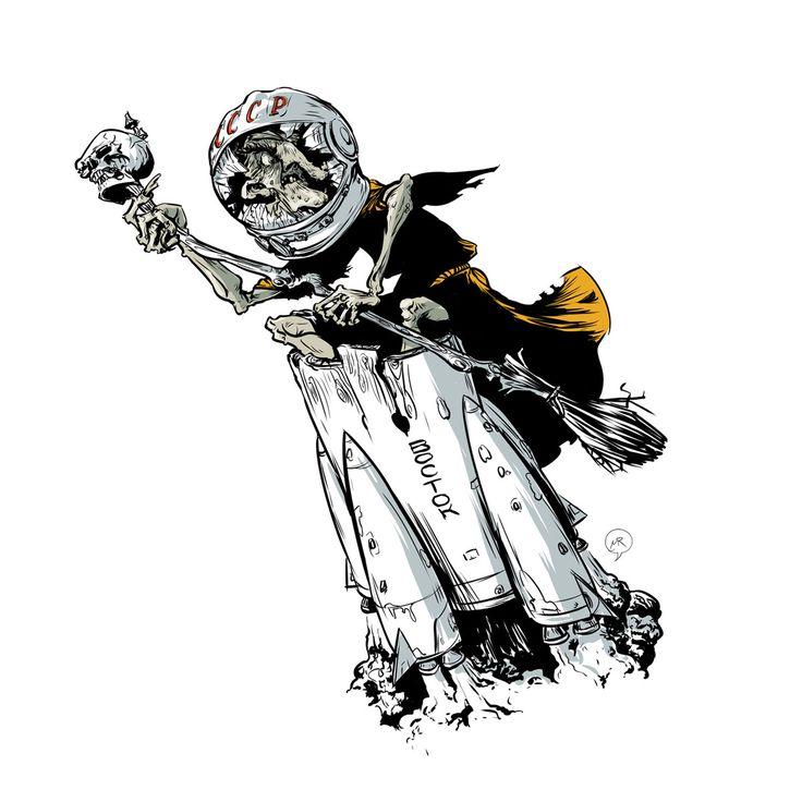 Day 80: Baba Yaga  #illustration #characterdesign #spaceship #babayaga #fairytale #russian #vostok #mittroshin