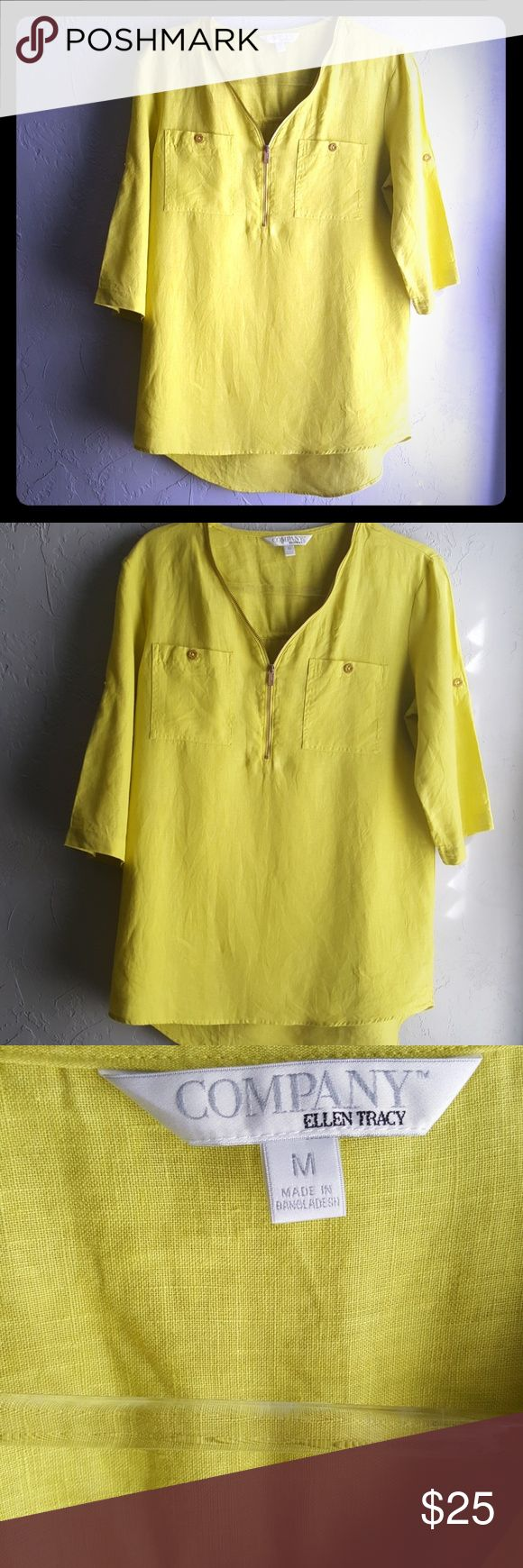 """Company Ellen Tracy Limeade linen blouse size M This limeade colored linen tunic is cool and comfortable for the warmer weather to come. Gold zipper and button accents, sleeves can be worn up or down, high low hem, 100 percent linen. length: front 27"""" length back:31"""" company ellen tracy Tops Tunics"""