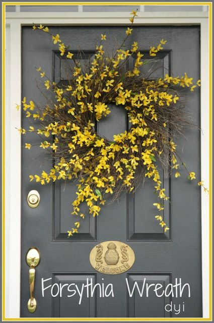 I hate forsythia in my garden but love the forced branches! EASY TO MAKE FORSYTHIA WREATH Step by step instructions. stonegableblog.com