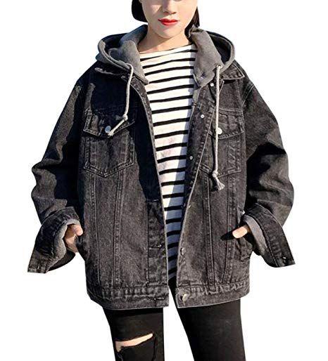 79263ad52996 New Gihuo Women s Oversized Loose Boyfriend Denim Jacket Hooded Jean Jacket  online.   39.99  33 offers on top store