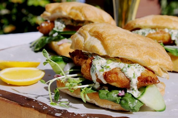 Beer battered fish burgers with garlic herb mayo - ChelseaWinter.co.nz