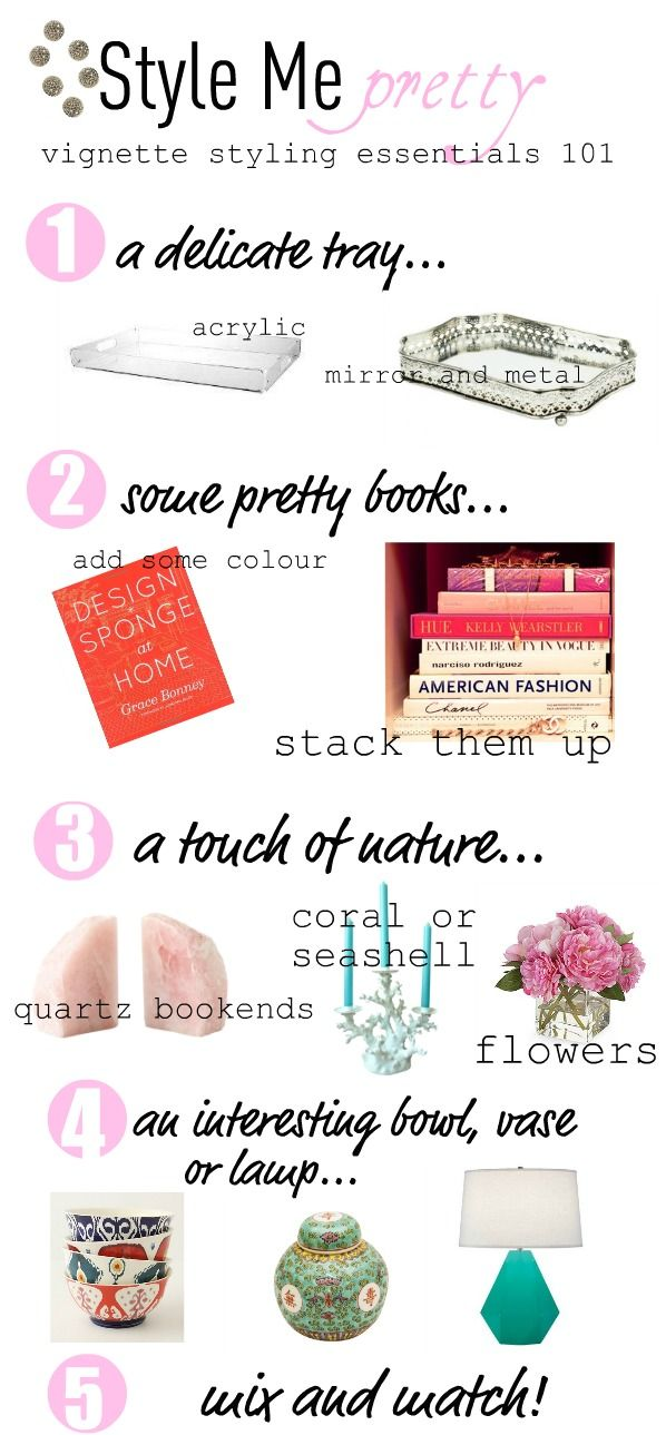 If you follow the above five steps on top of a lovely coffee table, small console table, bar cart, or bookshelf, you'll be well on your w...