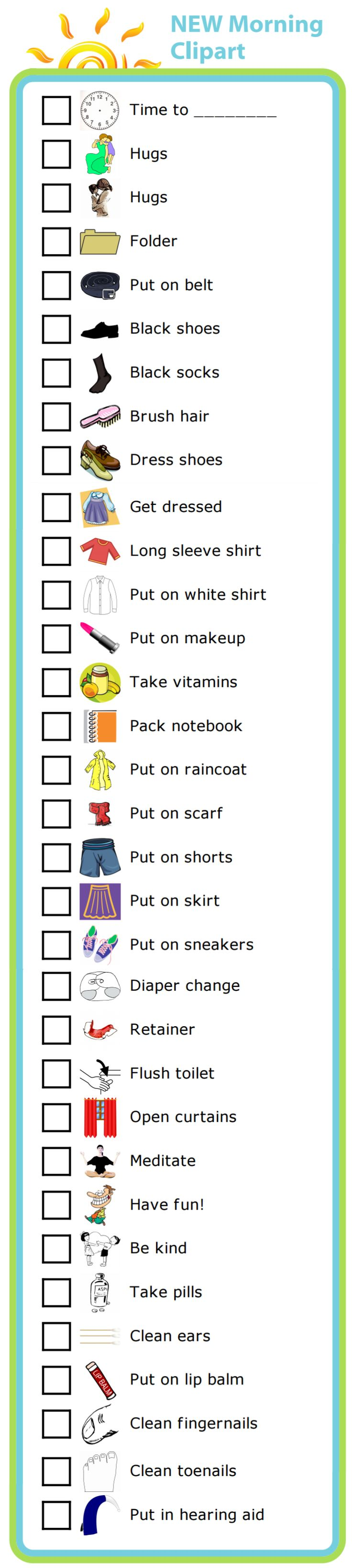 Here are 33 new pictures you can use to create a morning routine checklist. The pictures make it easy for big and little kids to know what needs to be done next. And you will stop being a drill sergeant shouting out orders!