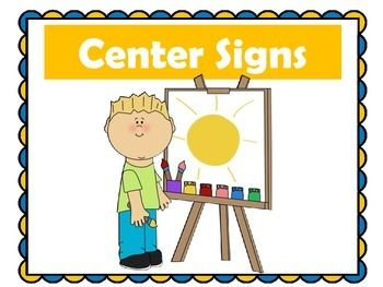 Centers: Set of 20 printable center signs for the early elementary classroom! Perfect for Preschool - 3rd grade centers!  Signs include: alphabet; art; big books; puppets; technology; game center; library; home living; listening, writing, puzzles, science; play dough; read to self; read to others; listen to reading; word work; poetry; blocks, smart board  Centers | Center Signs | Kindergarten Centers | First Grade Centers | Preschool Centers | Pre K Centers | Center Posters | Center ...