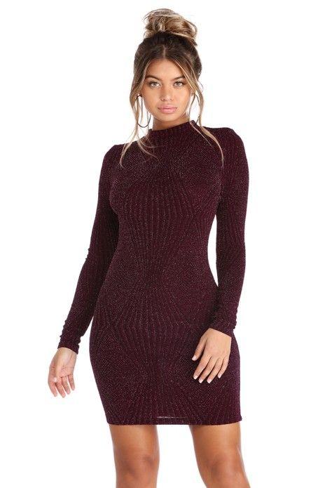 Plum Long Sleeve Diamond Sparkle Dress   WindsorCloud