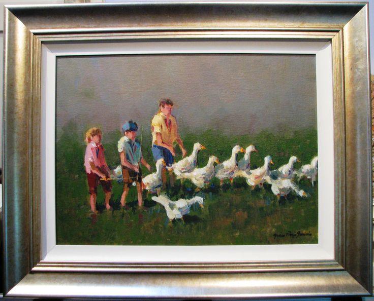 Gian-Piero Garizio original acrylic   Herding the Geese  Australian children