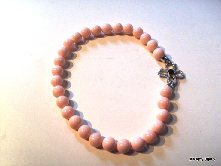 Collana in Argento con Conchiglia rosa e zirconi di AMAmy Bijoux  su DaWanda.com