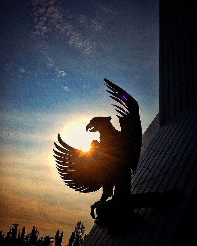 Garuda Pancasila, Indonesia's National Symbol. #silhouette #sunrise #morning #pancasila #garuda #indonesia #symbol #nation #eagle #pride #kalibata #morningsun #sky #instasunrise #morningsun