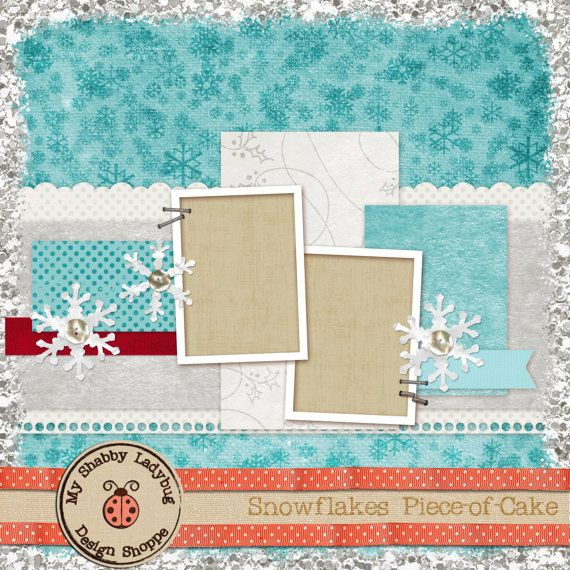 Snowflakes Piece-of-Cake Album Page!  Snowflakes, Ribbons, Flowers, Stitches and Frames! Perfect for that Winter photo INSTANT DOWNLOAD