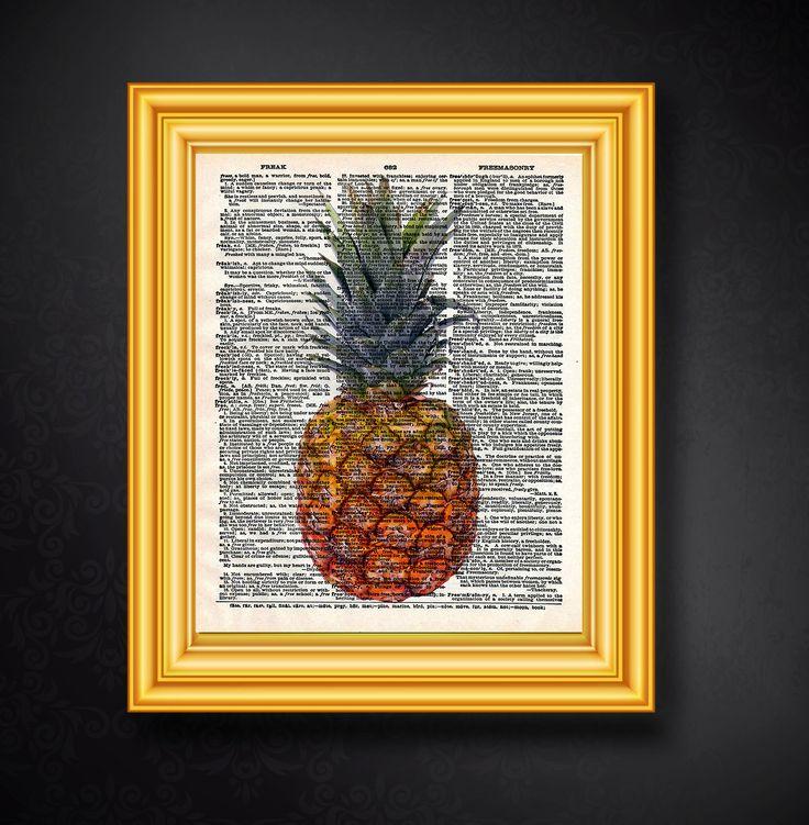 Ananas, Wörterbuch Kunst, Ananas Kunstdruck, Poster, Druckbare Kunst, Digitaler Download, Küche, Wanddekor, Früchte Print, Ananas Poster von FineArtHunter auf Etsy