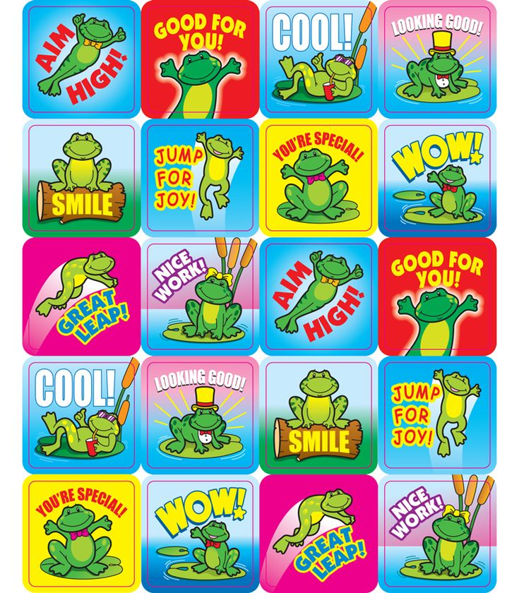 "Ribbet! Ribbet! These fun, frog stickers are a small, fun way to brighten a student&#8217s day. Perfect for reward or recognition, these 1"" x 1"" motivational stickers come 120 per pack and are acid free and lignin free!"