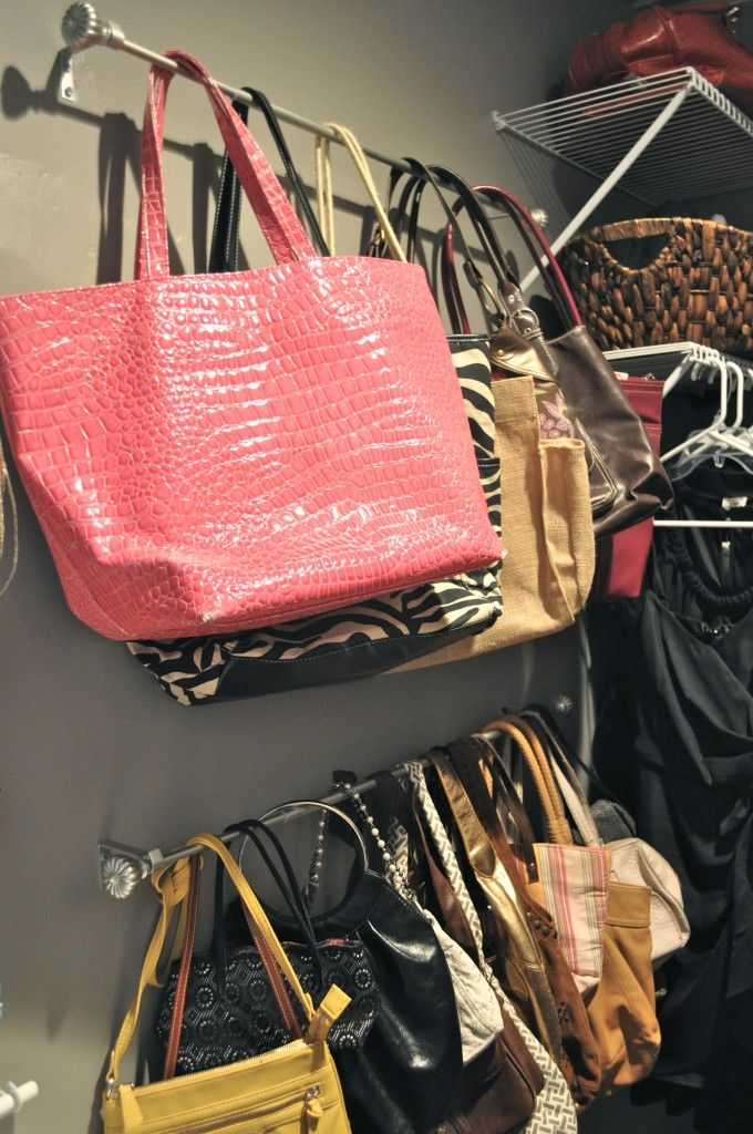 "Use curtain rods in your closet to organize purses- where you can actually see and access them all! Genius!....need to use ""s"" hooks to avoid having to lift the bar and remove a dozen purses to get the one you actually want."