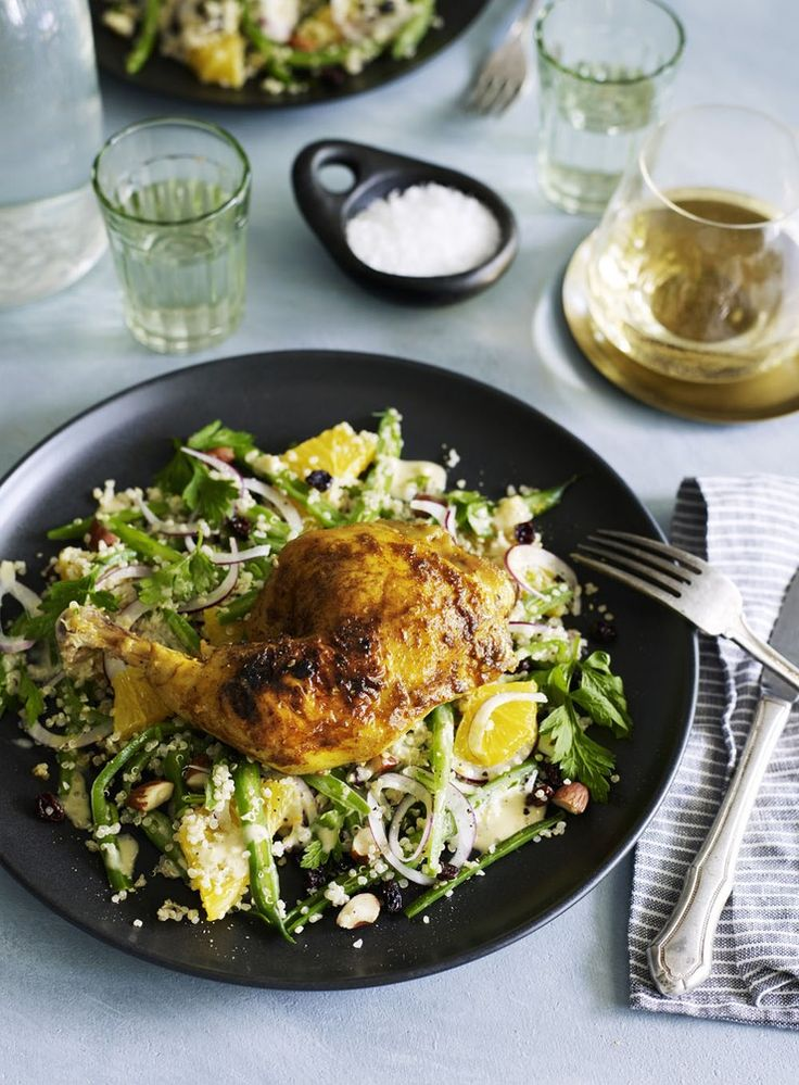 Moroccan Chicken with Quinoa, Tahini and Citrus Salad