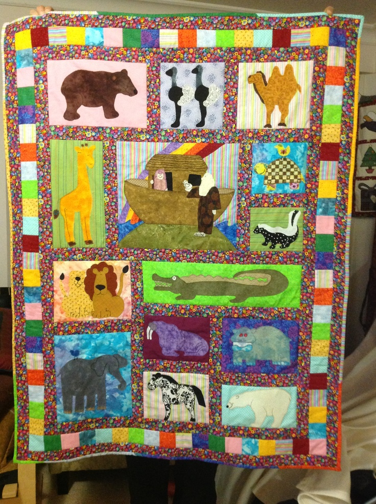 "I made this for my friend's baby who was born two days ago. It is the ""AFTER THE FLOOD"" quilt pattern by Mary Gay Leahy. 40""-52"" I used fabrics from my own stash. Didn't have to buy any at all! My friend loves it!"