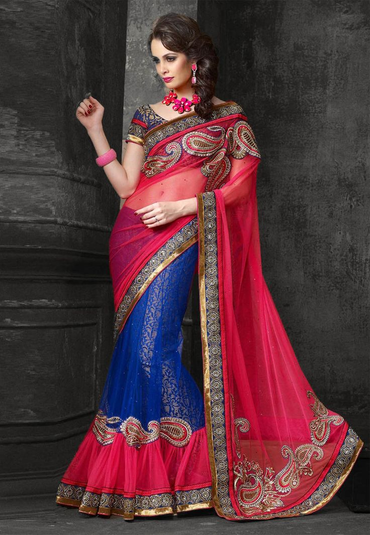Blue & Pink Embroidered Net Party Wear Lehenga Saree