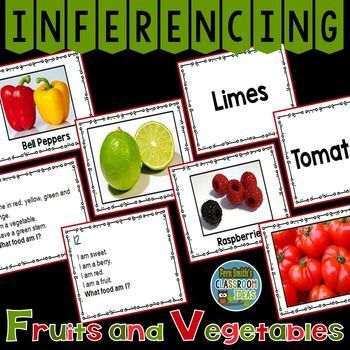 Just Published ~ Inferencing Task Cards, Recording Sheets and Answer Keys with Fruits and Vegetables - Resource Includes: *32 Task Cards with Color Photographs *32 Task Cards with Color Photographs and Vocabulary Words *32 Task Cards with Words Only *32 Task Cards with Inferencing Questions *3 Recording Sheets *3 Answer Keys #TpT #FernSmithsClassroomIdeas